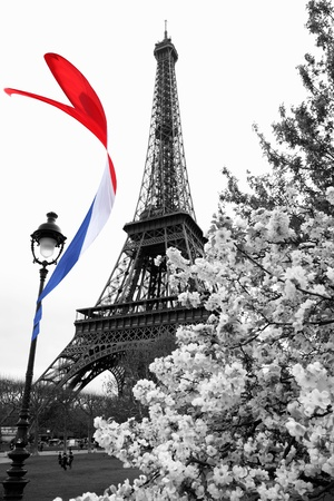 Stock Photo: Famous Eiffel Tower with colorful flag in Paris, France photo