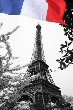 trocadero: Stock Photo: Famous Eiffel Tower with colorful flag in Paris, France