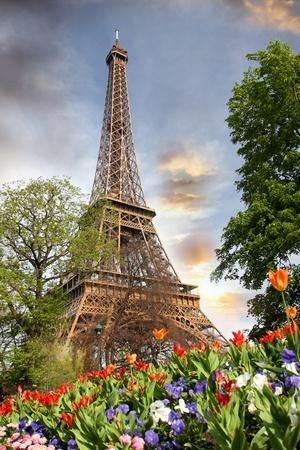 garden city: Primavera de la ma�ana con la Torre Eiffel, Par�s, Francia Foto de archivo