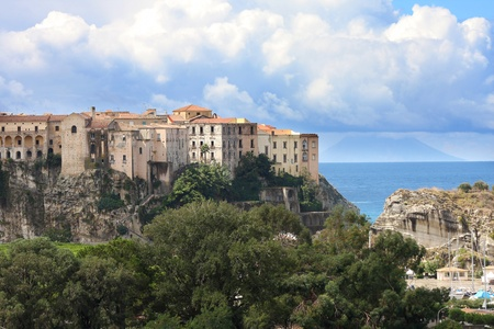 aereal: Italy, Calabria, Old town Tropea on the rock