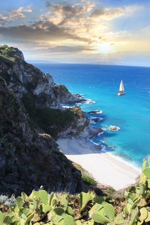 calabria: Tropical paradise with white beach against sunset