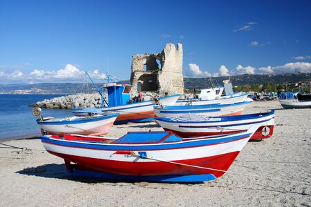 calabria: Beautiful colorful boats in harbor, Briatico, Calabria, Italy  Stock Photo