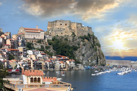 south italy: Scilla, Castle on the rock in Calabria, Italy