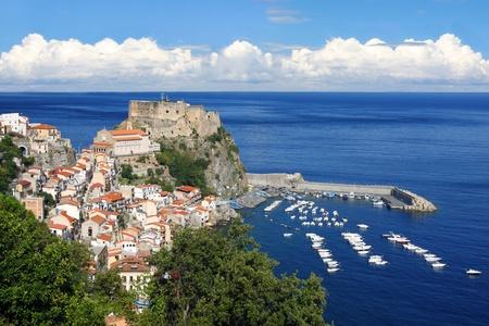 strait: Scilla, Castle on the rock in Calabria, Italy