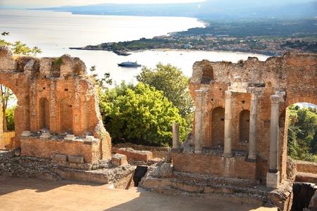 pano: Taormina theater in Sicily, Italy Stock Photo