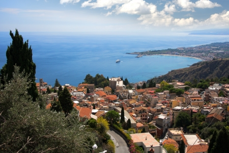Beautiful coast of Sicily with town Taormina  photo