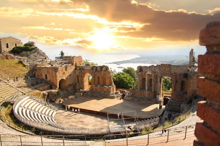 Taormina theater in Sicily, Italy Stock Photo