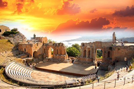 pano: Taormina theater in Sicily, Italy Stock Photo
