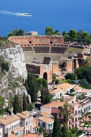 Taormina theater in Sicily, Italy Stock Photo