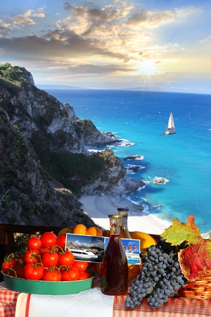 Summer paradise with food and boat  photo
