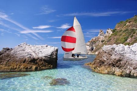 turkey beach: Luxury yacht in azure bay Stock Photo