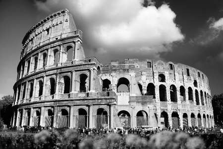 ruins is ancient: Colosseum in black and white style, Rome, Italy