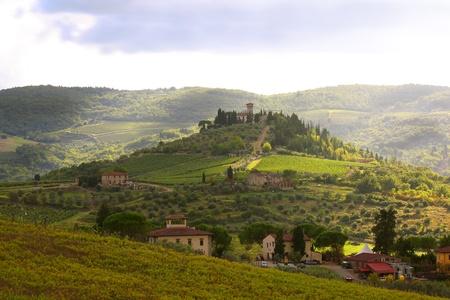 Chianti vineyard landscape in Tuscany, Italy Imagens