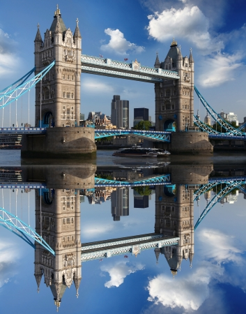 thames: Famous Tower Bridge with city cruise in London, UK