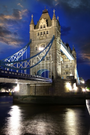 london tower bridge: Tower Bridge in the evening in London, UK Stock Photo