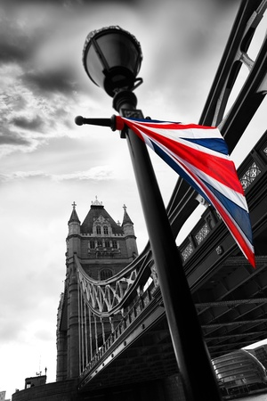 London Tower Bridge with colorful flag of England Stock Photo - 12310366