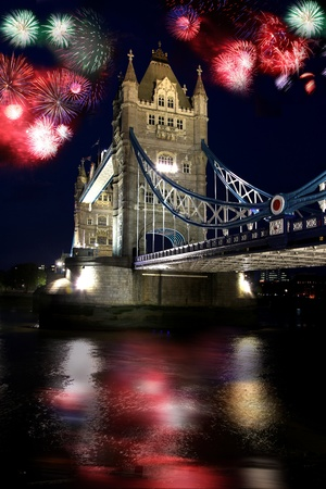 Tower bridge with firework, celebration of the New Year in London, UK  photo