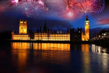england politics: Big Ben with firework, celebration of The New Year in London, UK