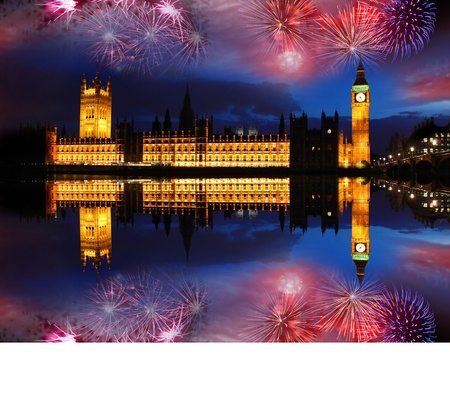 Big Ben with firework, celebration of The New Year in London, UK
