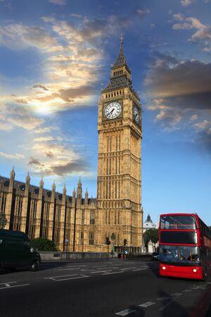 england big ben: Big Ben with double decker, London, UK