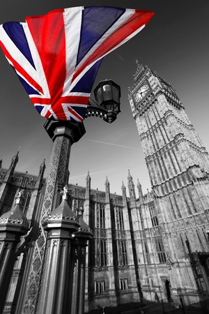 Big Ben with flag of England, London, UK  Stock Photo - 12304369