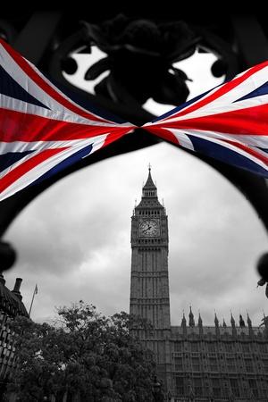 Big Ben with flag of England, London, UK  photo