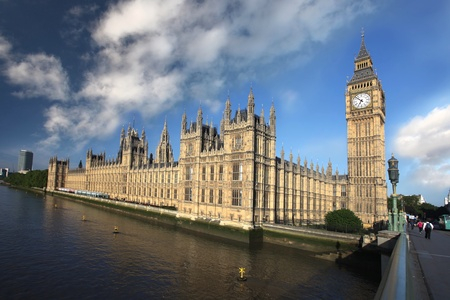 Big Ben with bridge, London, UK photo