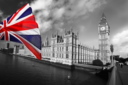 Big Ben with flag of England, London, UK Stock Photo - 12304460