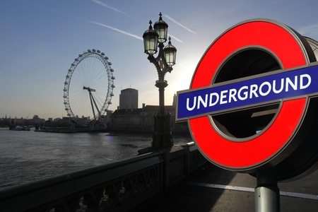 Underground point in London with London Eye