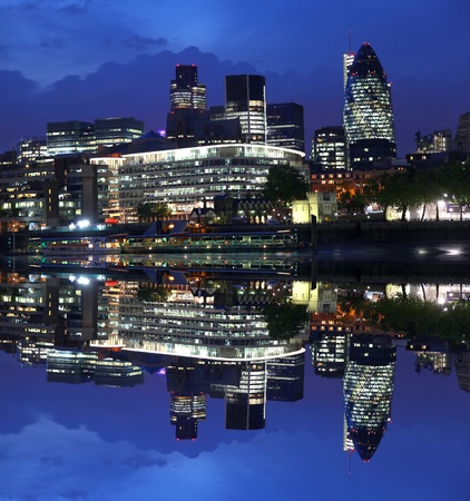 Modern London cityscape in the evening,  LONDON, UK  photo