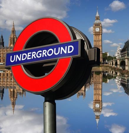london eye: Big Ben with Underground point in London, Uk Editorial