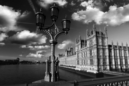 england politics: Parliament  in black and white style in  London, UK