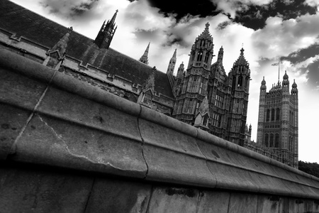 houses of parliament   london: Parliament  in black and white style in  London, UK