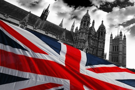 english flag: Parliament  with flag of England, London, UK