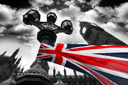 united kingdom: Big Ben with flag of England, London, UK Stock Photo