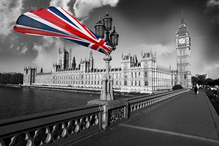 parliament: Big Ben with flag of England, London, UK Stock Photo