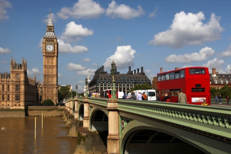 london tower: Big Ben with red city bus in London, UK Stock Photo