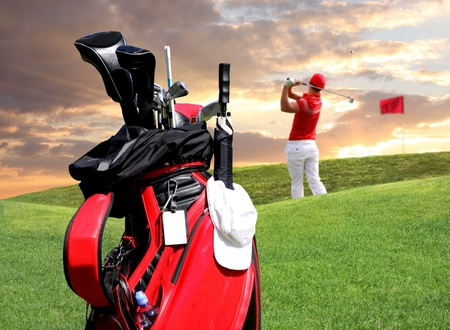 golf swings: Man playing golf with golf bag