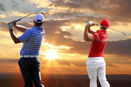 Men playing golf photo
