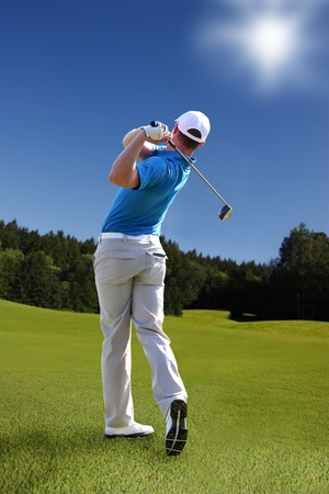 Man playing golf photo