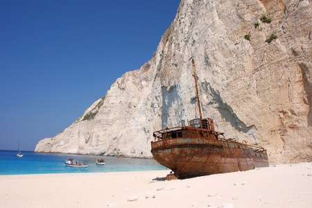 ship wreck: Famous European Beach Navagio in Zakynthos Island, Greece, part of Ionian Islands Stock Photo