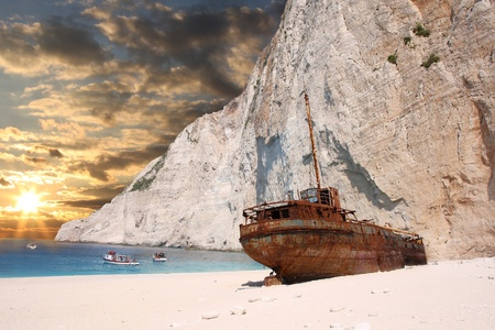 ionian: Famous European Beach Navagio in Zakynthos Island, Greece, part of Ionian Islands Stock Photo