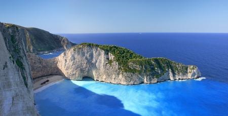 Célèbre d'Europe de Beach Navagio dans l'île de Zakynthos, en Grèce, une partie des îles Ioniennes