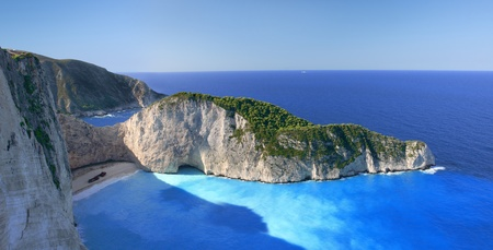 Famous European Beach Navagio in Zakynthos Island, Greece, part of Ionian Islands  photo