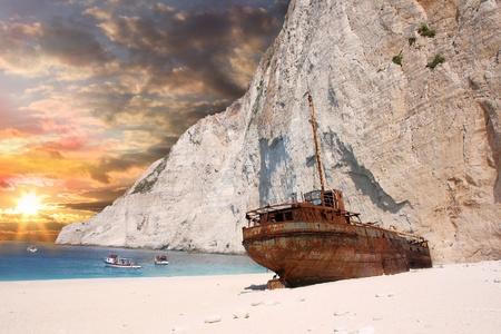 Famous European Beach Navagio in Zakynthos Island, Greece, part of Ionian Islands  photo