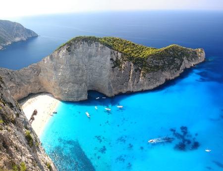자킨 토스 섬, 그리스, 이오니아 제도의 일부 유명한 유럽 해변 Navagio 스톡 콘텐츠