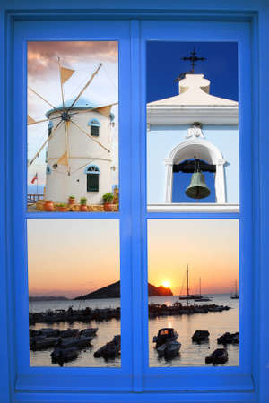 Greek window with summer concept  photo