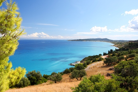 Coast of Greece in Zakynthos Island with azure sea photo