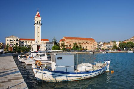 Zakynthos town with main church and with harbor in Greece Stock Photo - 13006371