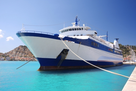 Greek Ferry boat in harbor of town, Zakynthos Island